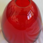 Ruby red coated vase with grinded pattern